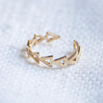 Gold Ring, Geometric Ring, Gold Geometric Ring, Geo Gold Ring, Adjustable Ring, Geometric Stacking Ring, Gold Stacking Ring, Gift for Her