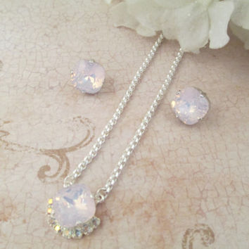 swarovski crystal necklace rosewater opal, surrounding aroura borealis stones, 12 mm square cushion cut earrings
