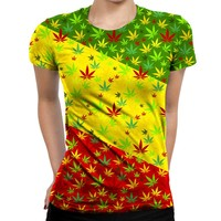 Rasta Weed Womens T-Shirt
