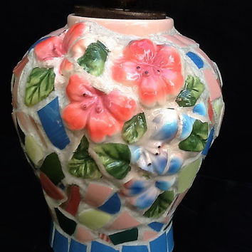 Memorial Urn Vase Mosaic Flower Peach and Blue