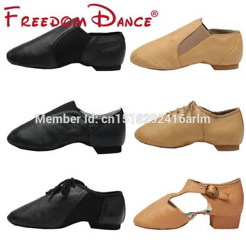 Quality Genuine Leather Jazz Dance Sneakers Dancing Shoes For Ladies Men Black Tan Sports Jazz Dance Shoes For Adults