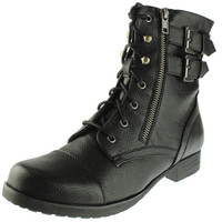 MADELINE girl Womens No Rush Faux Leather Zipper Combat Boots
