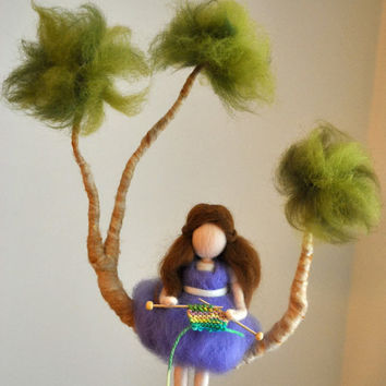 Nursery  Mobile Waldorf Inspired : Girl Knitting on the tree