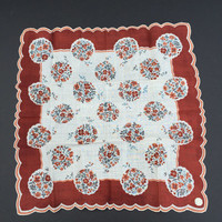 Vintage Mid-Century Swiss Printed Handkerchief made of Rayon