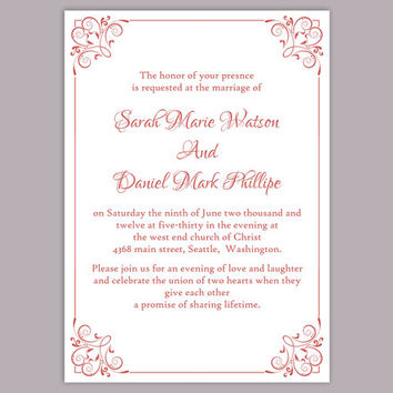 DIY Wedding Invitation Template Editable Word File Instant Download Printable Invitation Red Wedding Invitation Elegant Floral Invitation
