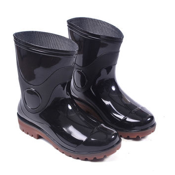 Solid Black Color Non-slip On Wellies Fishing Mens Rubber Rain Boots