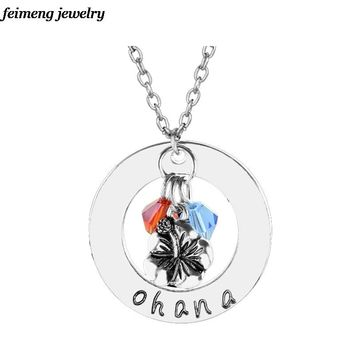 Beauty and the Beast Pendant Charm Flower Ohana Handmade Necklace Crystals Lilo & Stitch family Fashion Jewelry Accessories