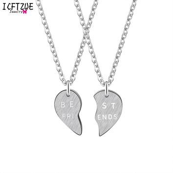 ICFTZWE Stainless Steel Statement Necklaces Fashion Jewelry BFF Broken Best Friend Heart Necklaces For Women Wedding Gold Colour