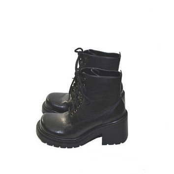 Vintage Black Boots Black Combat Boots Black Leather Boots 90s Chunky Heel Boots Motorcycle Boots Women's Lug Sole Boots