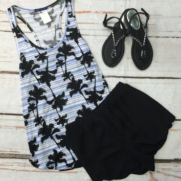 Palm Tree Tank: Blue
