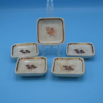 Alfred Meakin Royal Ironstone Butter Pat Set Vintage Gold Tea Leaf Transferware Made in England Set of 5 Cream & Gold Butter Pats