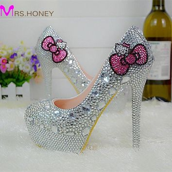 Hello Kitty Silver Rhinestone Bridal Wedding Shoes Graudation Party Prom High Heel Sho