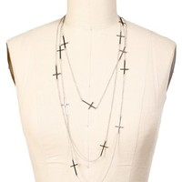Silver 2 Chain Cross Necklace