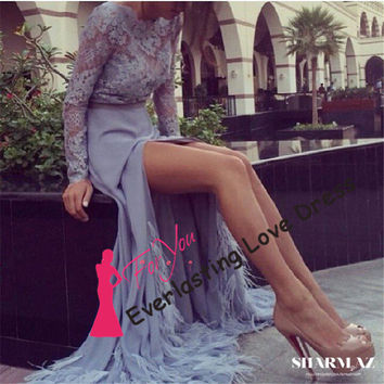 2014 See Through High Neckline Lace Top Long Sleeve Sexy High Low Chiffon With Feather Grey Prom Dresses Evening Illusion Back