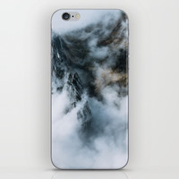 Moody Switzerland Mountain Peaks - Landscape Photography iPhone Skin by Michael Schauer
