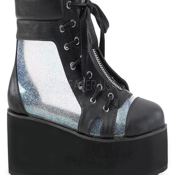 Blk Vegan Leather-Clr Hologram Festival and Rave Boot