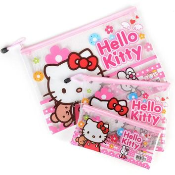1PCS Cute Kawaii Hello Kitty Transparent Pencil Pen Bag File Case For Kids Student Stationery Kids Gift Purse Storage Phone Bag