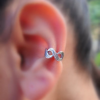 Sterling Silver Infinity  Ear Cuff by Holylandstreasures on Etsy