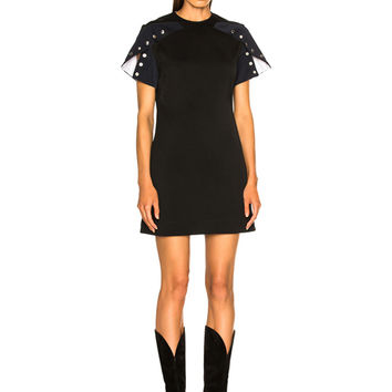CALVIN KLEIN 205W39NYC Snap Cape Sleeve Mini Dress in Black & Navy | FWRD