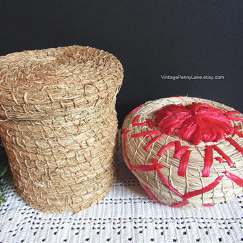 Vintage Woven Baskets / Boxes with Lids, Storage Boxes, Jamaica Souvenir, Boho / Bohemian Decor