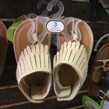 Kids tan fringe sandals