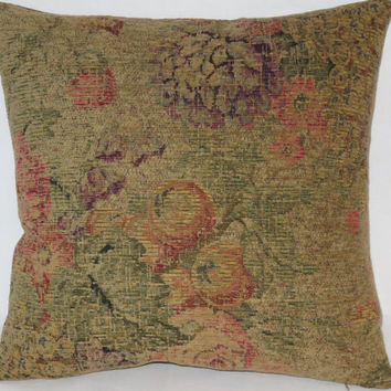 "Floral and Fruit Chenille Tapestry Pillow, Distressed Weathered Vintage Look, Flowers, Gold Green Coral Purple, 17"" Square, Ready to Ship"