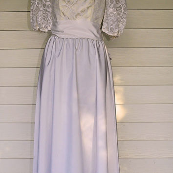 1980s Vintage Formal Dress/Junior Marshall Dress/80s White Satin and Lace Puff Debutante Dress