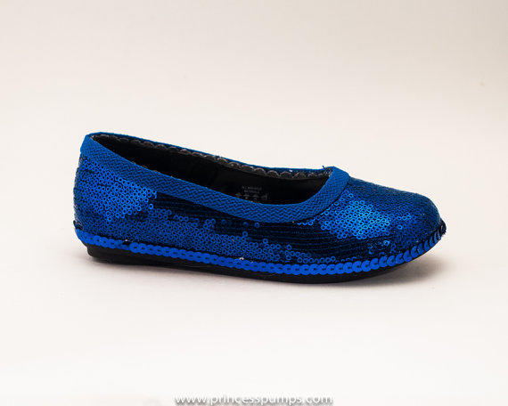 Girls Royal Blue Sequin Dress Shoes From Princess Pumps