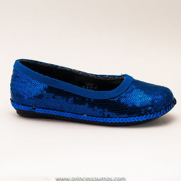 Girls Royal Blue Sequin Dress Shoes