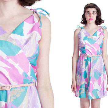 Pastel Sundress 80s Vintage 1980s Abstract Floral Pink Blue White Spaghetti Strap