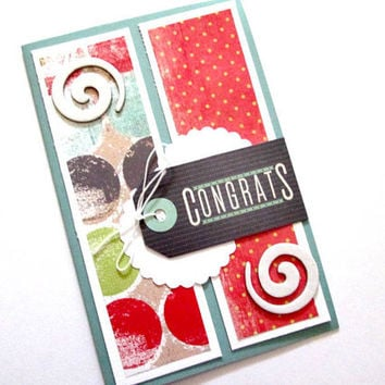 Congratulations Card, Blue, Red, Gray and White