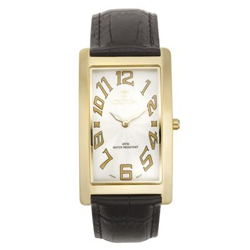 Croton Mens Stainless steel Goldtone Rectangular Watch