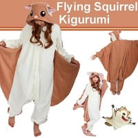 Momonga Pinball Adventures Flying Squirrel Kigurumi Pajamas Cute Animal Fleece Onesuit Sleepwear