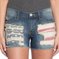 Rock & Republic Destructed American Flag Frayed Jean Shorts