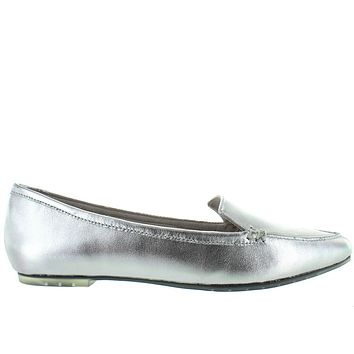 Me Too - Silver Metallic Leather Pointy Loafer