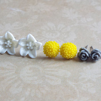 Tiny Rose Studs Lily Studs Dahlia Studs Set of Stud Earrings Floral Jewelry White Yellow Gray Flower Boutique