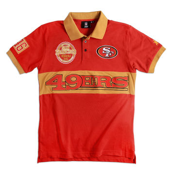 San Francisco 49ers KLEW Forever Collectibles Wordmark Rugby Polo Shirt Size M-XXL