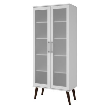 Accentuations by Manhattan Comfort Serra 2.0- 5- Shelf Bookcase in  White and Splayed Wooden  Legs