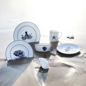 Creative Ocean Style Europe Brief ceramic dinnerware sets 5pcs wedding gift porcelain tableware soup plates/dish plate/mug/bowl