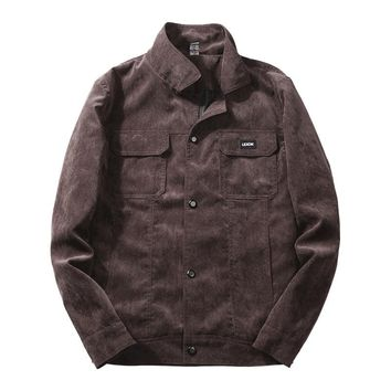new men washed corduroy jacket cultivate morality leisure coat