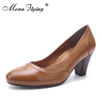 2017 Women's pumps genuine leather shoes wedges  women dress shoes for office ladies pure leather plus size shoes 205-28