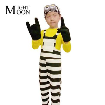 MOONIGHT Despicable Me 3 Minions in Jail Cosplay Outfit Prison Uniform Gloves Goggles Full Set Halloween Party Costumes