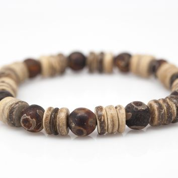 Coconut and Agate Stone Unisex Beaded Bracelet