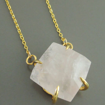 Fluorite Necklace - Pink Fluorite Necklace - Raw Gemstone Necklace - Gold Necklace - Bohemeian Necklace - handmade jewelry