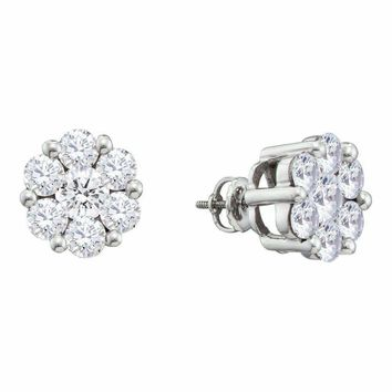 14kt White Gold Women's Round Diamond Large Flower Cluster Stud Earrings 1-1-2 Cttw - FREE Shipping (USA/CAN)