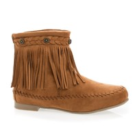 Starcy93 Tan Moccasin Braid Fringe Round Toe Flat Ankle Boots