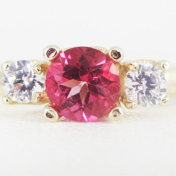 Pink Topaz and CZ 14k Yellow Gold Three Stone Ring, Solid 14 Karat Gold Ring, Pink Topaz Ring, Yellow Gold Pink Topaz Ring, Three Stone Ring