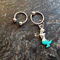 Hand Painted Little Mermaid - 20g 18g 16g 14g CBR or Horseshoe Ring Cartilage Navel Nipple Captive Piercing