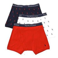 Polo Ralph Lauren Classic Fit 100% Cotton Boxer Briefs - 3 Pack (LCBB) S/Red/Pony Prin
