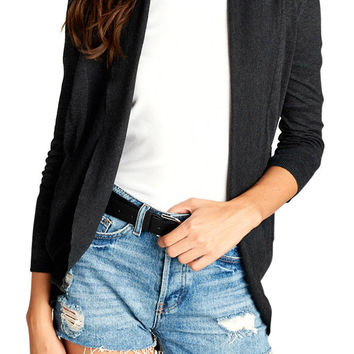 TheLovely Women 3/4 Dolman Sleeve Open Cocoon Cardigan Sweater with Side Pockets